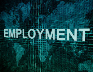 Employment text concept on green digital world map background
