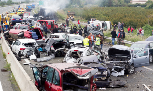 VERIA GREECE - OCTOBER 5 2014:A large truck crashed into a number of cars and 4 people were killed and many were injured in a multi-vehicle collision that occurred on Egnatia Odos.