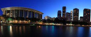 Los Angeles wide angle panoramic at twilight